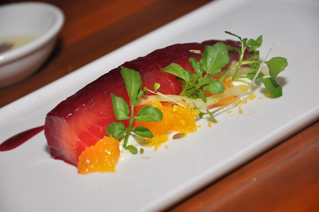 A Journey Through Time IX Beetroot Cured Salmon served with Dill Crème Fraiche, Toasted Fennel Seeds, Watercress, Lemon Zest