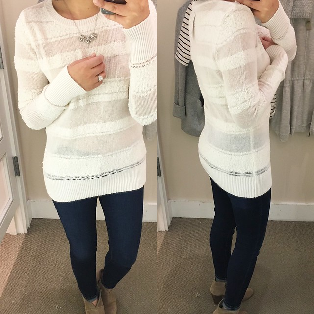 LOFT Sheer Stripe Sweater, size M regular