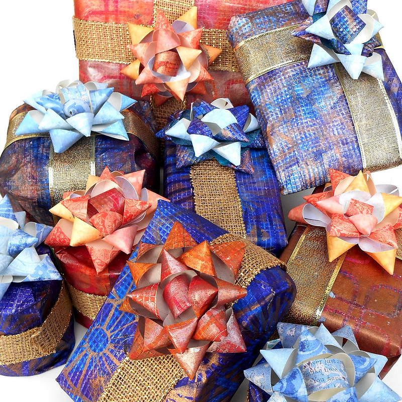 Gelli Printed Wrapping Paper and Ribbon