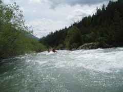 Mike & Dylan paddling the very fast and furious river Image
