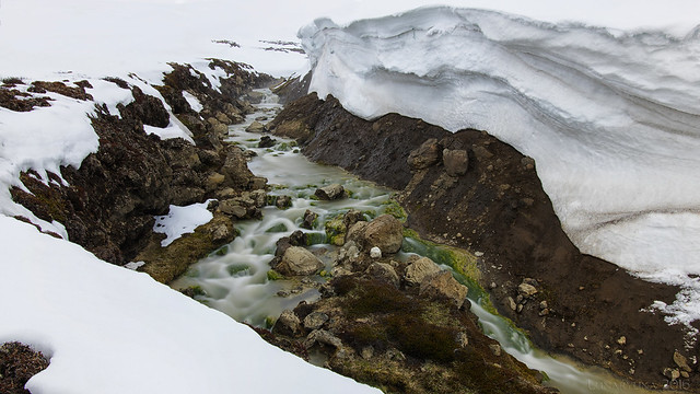Volcanic Spring through ice and snow