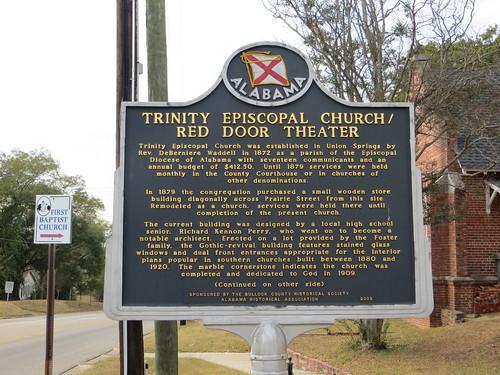 Trinity Episcopal Church-Red Door Theater Marker Union Springs AL