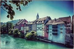 Rheinseite von Laufenburg (Aargau) Vintage Stil 9