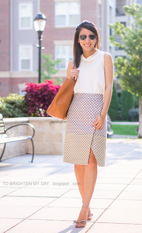 white sleeveless cowl top, brocade wrap skirt, cognac brown tote, mixed bangles, bow sandals