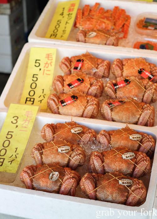 Hokkaido hairy crabs and king crab at Nijo Market, Sapporo