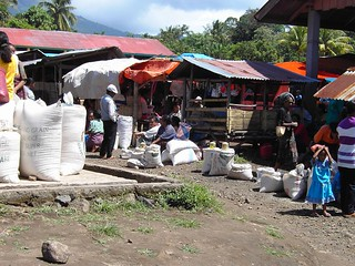 Flores. a local village market near Bajawa.