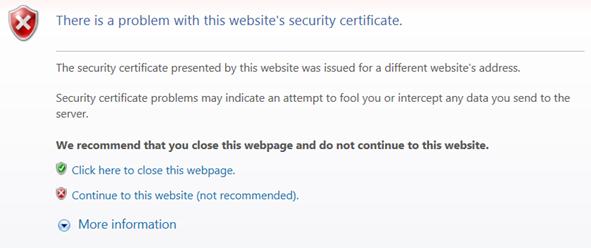 UC site security error