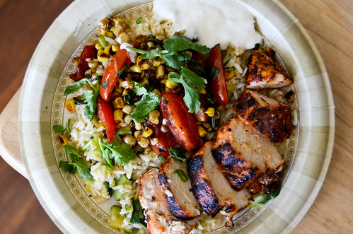 Blackened Chile-Dusted Chicken with Zucchini Rice & Corn-Tomato Sauté