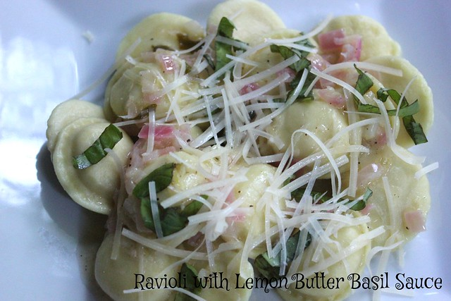Ravioli with Lemon Basil Butter Sauce