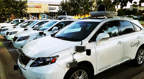 While running errands today, I ran into a gaggle of Google self driving cars.