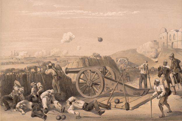 A scene from the batteries on the Delhi Ridge, during the Indian mutiny of 1857