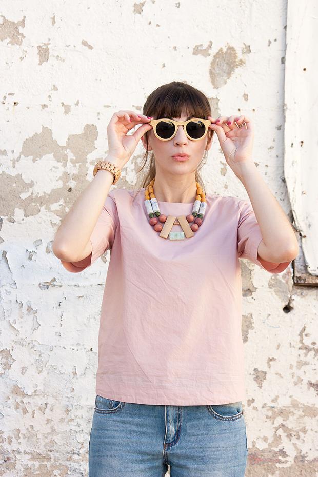 Panda Sunglasses, Bamboo Sunglasses, History and Industry necklace, Everlane Shirt, Jord Watch
