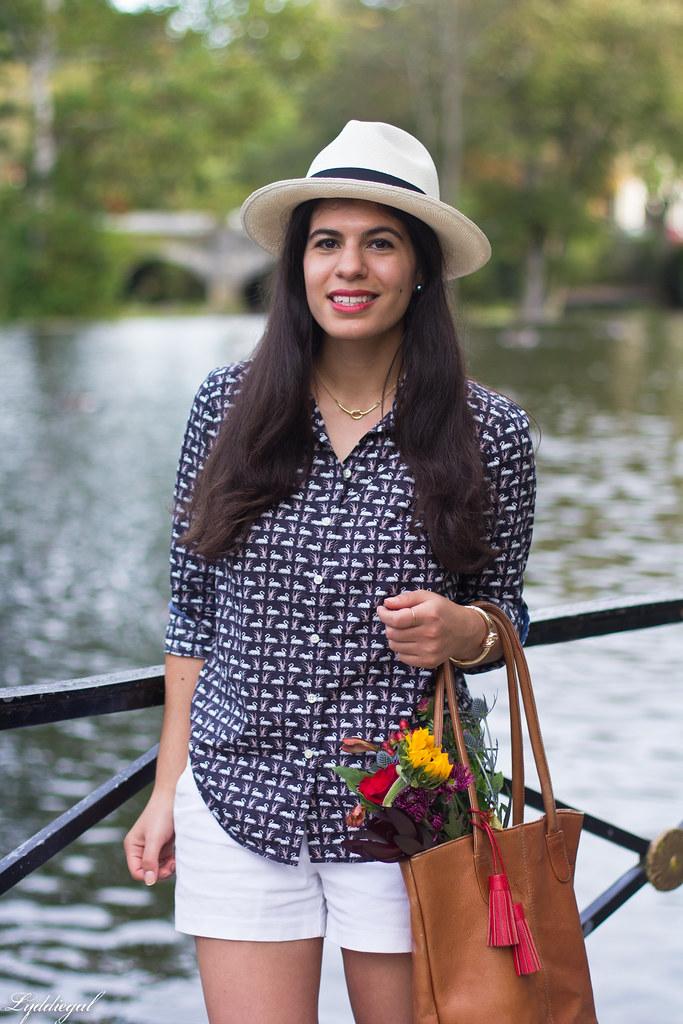 swan print shirt, white shorts, panama hat, converse-8.jpg