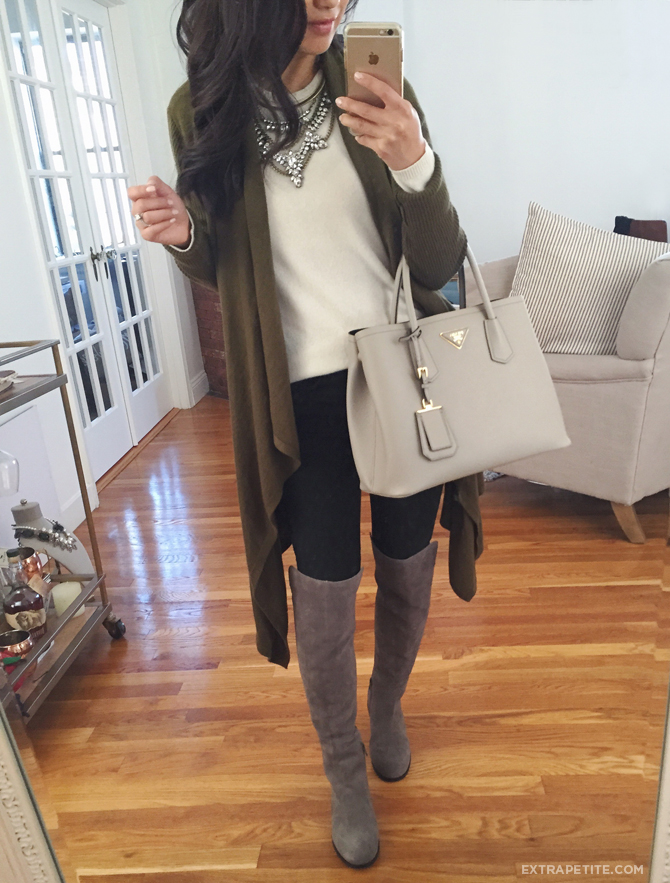 high boots drape cardigan_ casual fall outfit