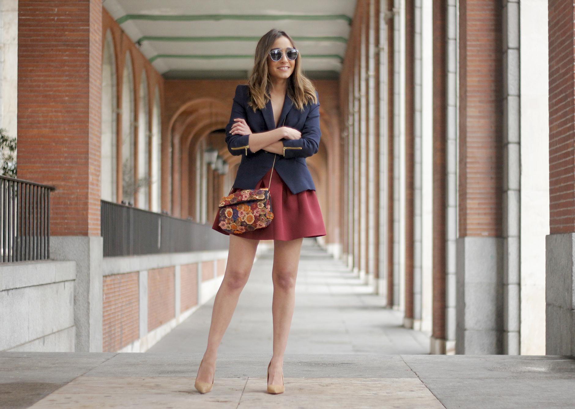 Blue Blazer Burgundy Skirt Outfit18