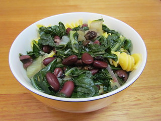 'Penne' with Swiss Chard, Olives and Currants