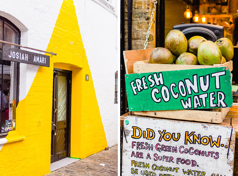 Camden Lock Live 2015 bright yellow triangle shop and coconut water