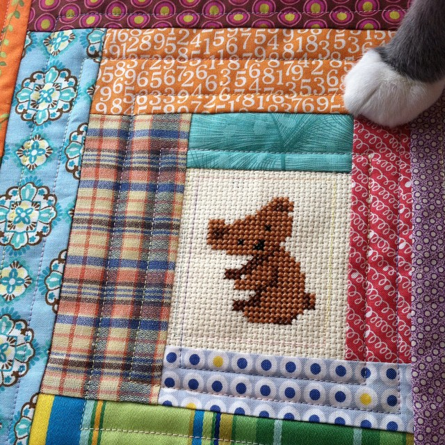 I put that little koala cross-stitch into a mini quilt. You can clearly see that Mr. Paws approves of this. #greengrovesEtsyshop