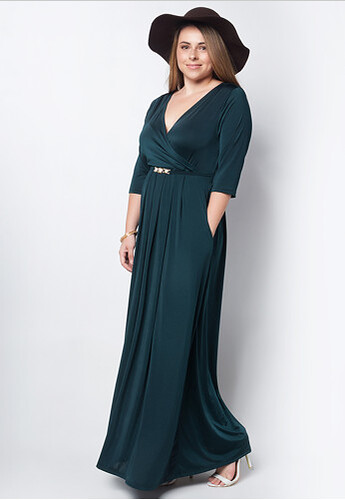 LOVE CURVES CLOTHING BY JGO emerald green dress