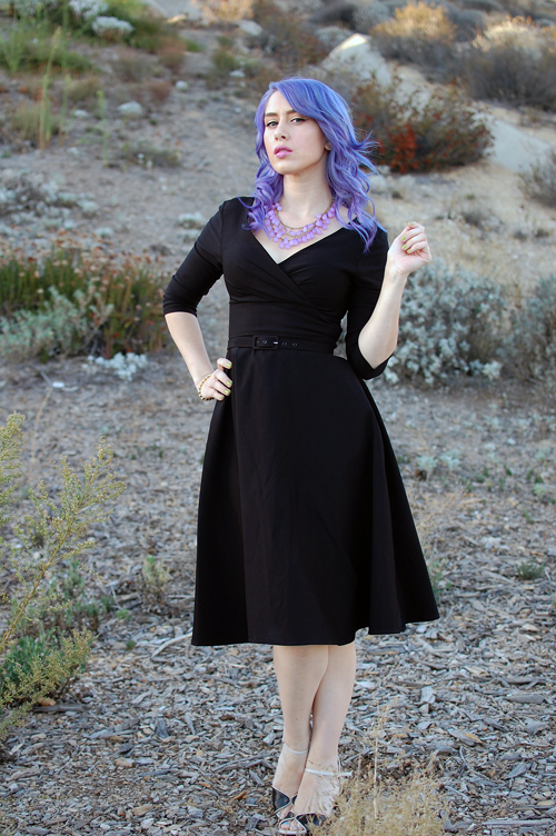 Pinup Girl Clothing Pinup Couture Erin Swing Dress in Three-Quarter Sleeves in Black