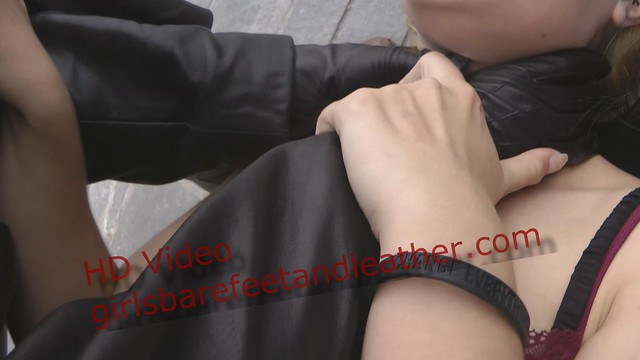 Girl Strangle leather gloves assassin hitwoman leather pants boots jacket