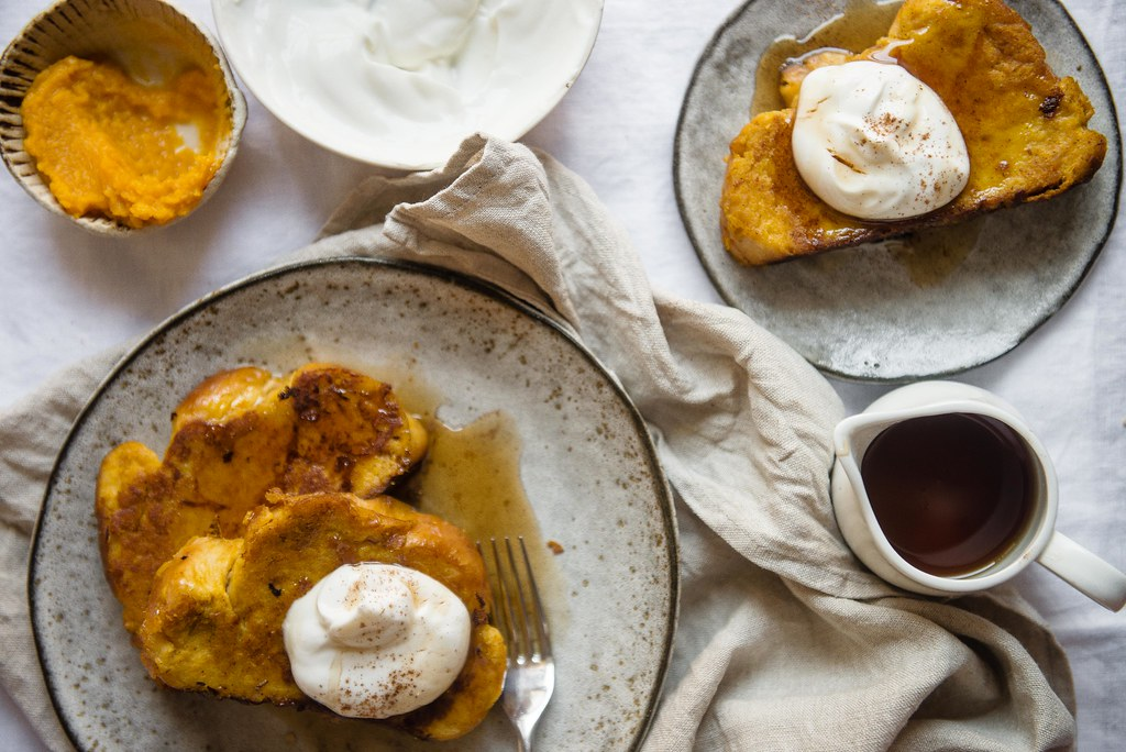 pumpkin french toast with maple yogurt | two red bowls