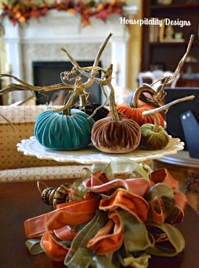 Fall Velvet Pumpkin Vignette - Housepitality Designs