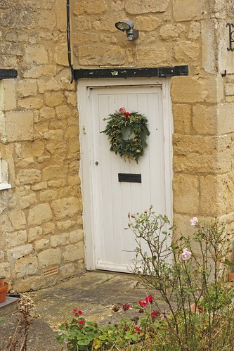 Rustic looking wreath on the front door