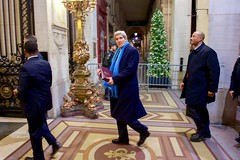 U.S. Secretary of State John Kerry arrives in Paris, France, on November 29, 2015, before accompanying President Obama at the COP-21 climate change conference. [State Department photo/ Public Domain]