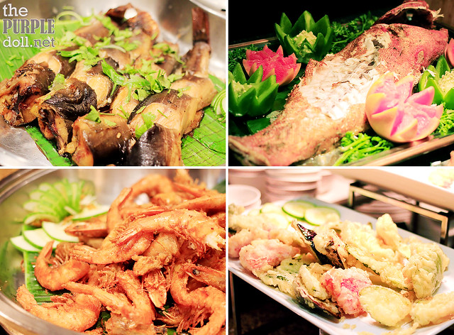 Hot Dishes - Grilled Seafood, Steamed Lapu-Lapu, Prawn Qaliya, Prawn & Assorted Tempura