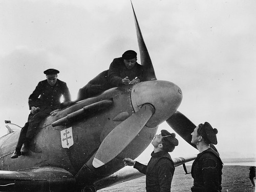 Free French Air Force Ground Crews servicing a Spitfire