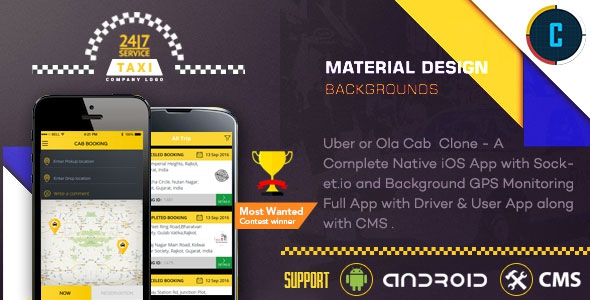Taxi Booking App v1.0 - A Complete Clone of UBER with User,Driver & Bacend CMS Coded with Native Android