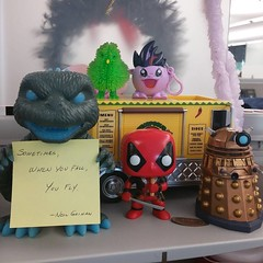 sometimes when you fall you fly #neilgaimanquote #goji #pinkiepie #deadpool #alfiethemartianchicken #dalek
