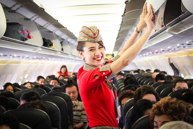 Vietjet's cabin crew on duty