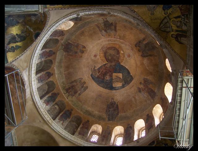 Grecia Delfos Osios Lukas Kalambaka - Fresco del Pantocrátor en iglesia Katholikon
