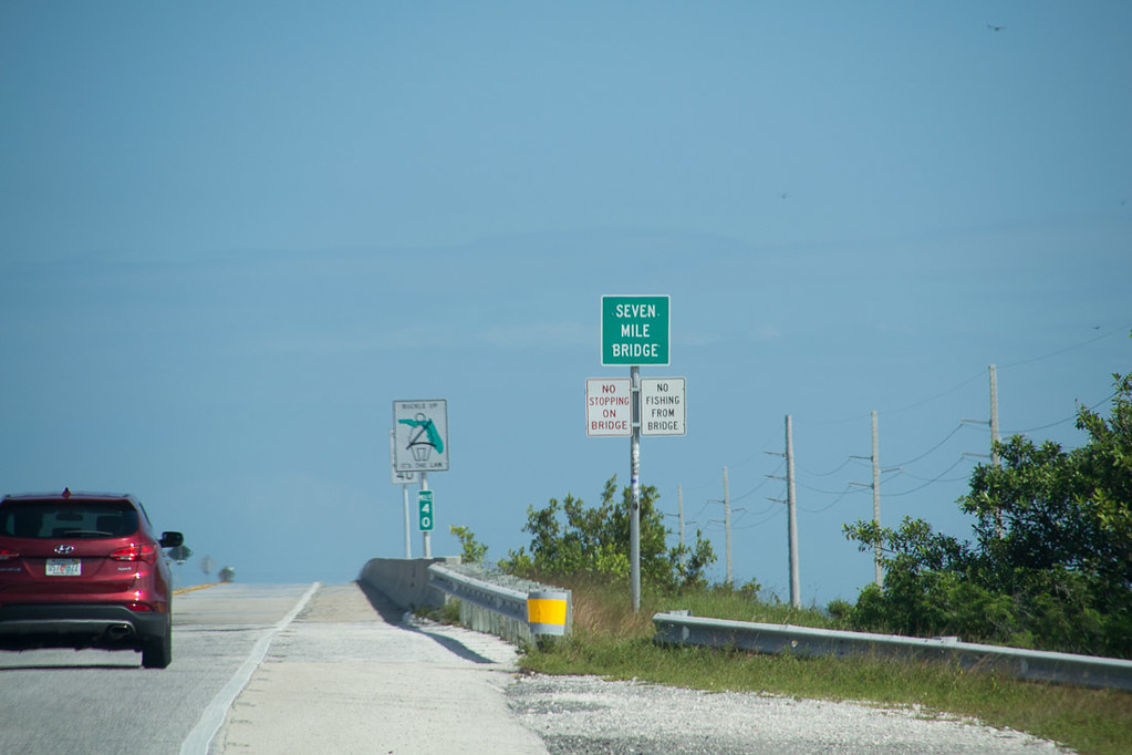 Driving on the Overseas Highway Leaving Key West