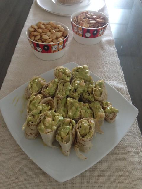Mini shrimp avocado wraps  with rose sauce, plus crisps and tortillas with guacamole