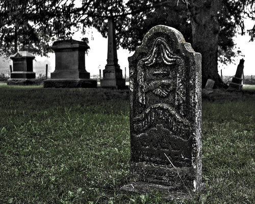 cemetery fog gravestones hdr
