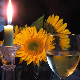 Sunflowers & wine