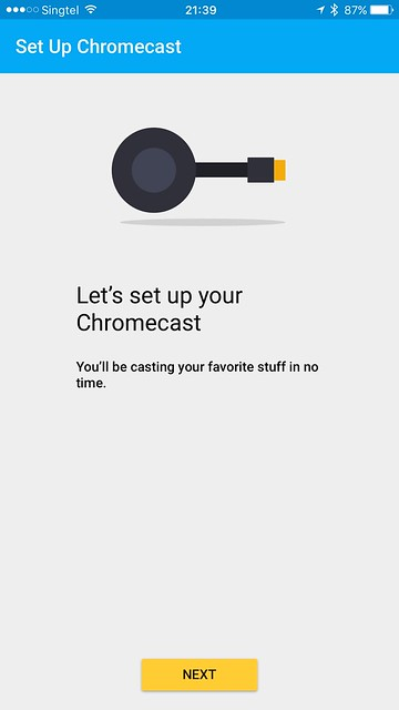 Chromecast iOS App - Setup - Start
