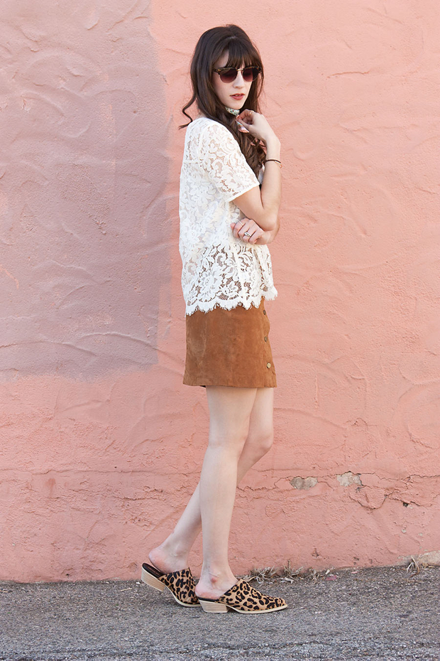 Tan Suede Skirt, White Lace Tee, Leopard shoes, Mules