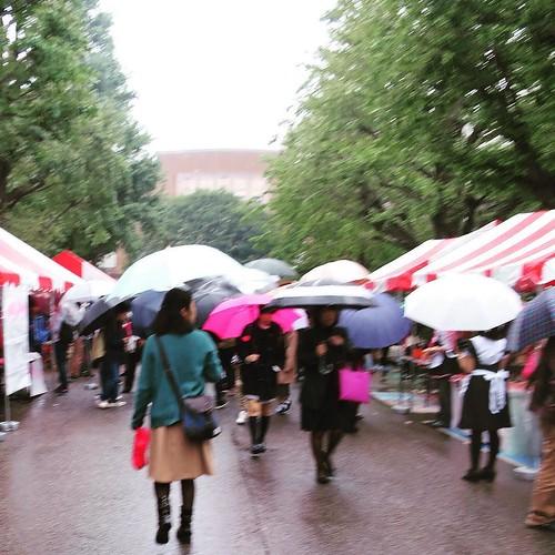 あいにくの雨だけど。お茶の水女子大学の学園祭。