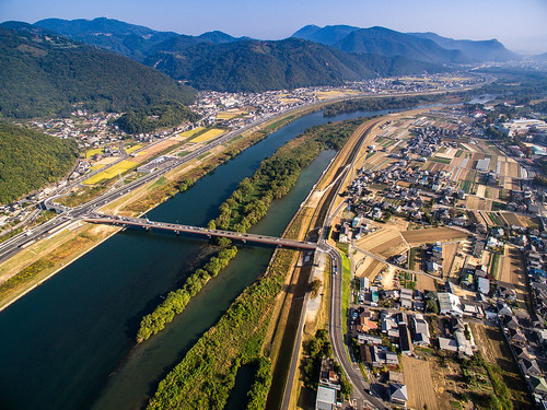 road autumn mountain field japan sunrise river landscape scenery rice natural asahi outdoor harvest aerial freeway 日本 秋 自然 山 風景 okayama 景色 川 岡山 日の出 稲 phantom3 朝日 田 収穫 dji 河川 photones