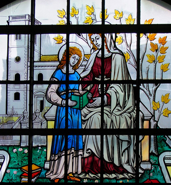 St Anne teaches the Blessed Virgin to read in Queen Victoria Street (Carl Edwards, 1968)