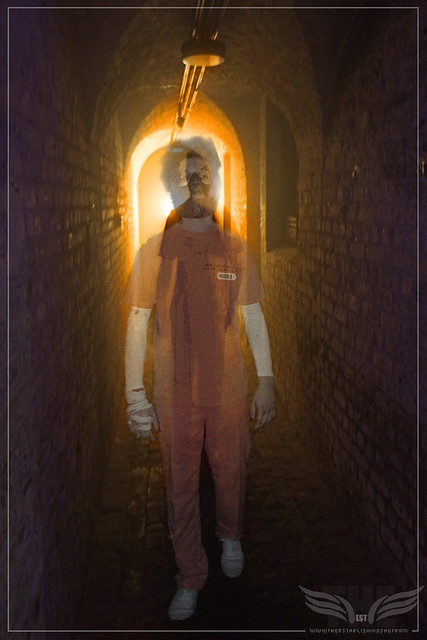 The Establishing Shot: AARON BRYAN AS A CREEPY ARKHAM ASYLUM INMATE @ THE ROGUES GALLERY - CREATION OF A SUPER-VILLAIN BOOK LAUNCH @ THE CRYPT GALLERY, LONDON - OCT 2015