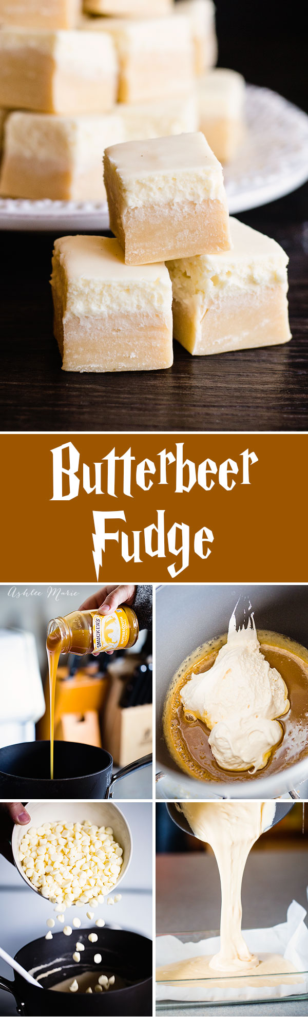 Everyone loves butterbeer, so here is a butterbeer fudge a butterscotch base with a creamy top, just like the drink itself