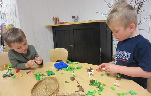 Playmobile during indoor recess