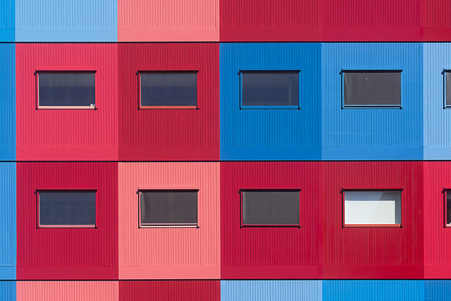 Red, pink and blue building