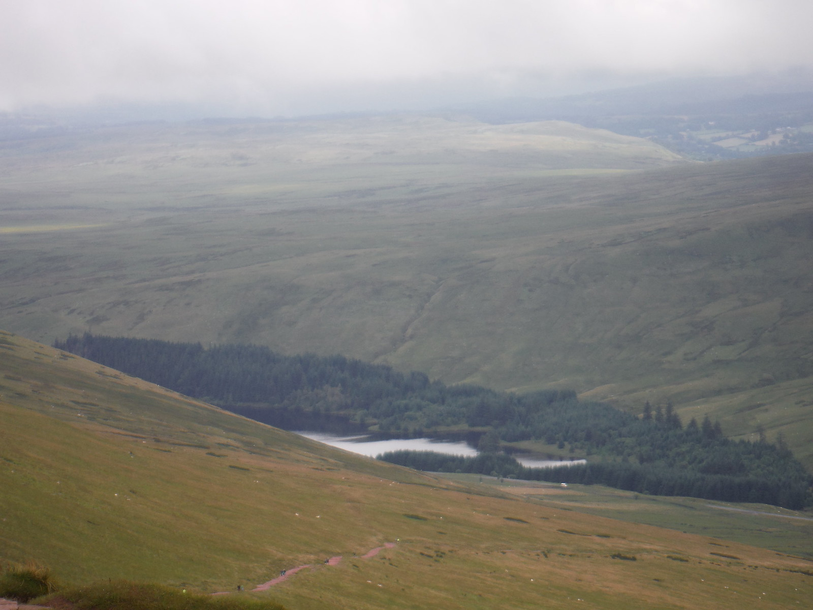 Beacons Reservoir and Ascent from A470 Car Park, taken from Corn Du SWC Walk 278 Breacon Beacons Horseshoe - Bannau Brycheiniog (Ascent from Storey Arms Car Park)