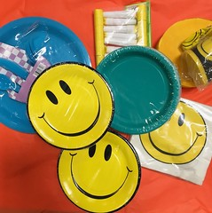 OFFICE SUPPLIES:  Happy face party supplies.